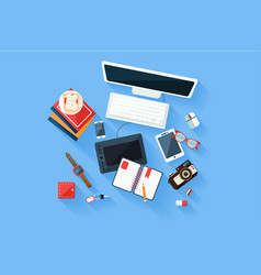 colorful modern designer workplace top view desk vector image