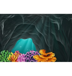 Coral reef in the cave underwater vector image vector image
