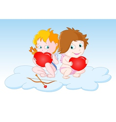 Cupids Sitting on the Cloud vector image vector image