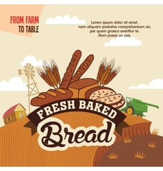 Fresh baked bread from farm to table vector image