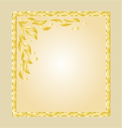 Golden frame with white gold leaves greeting card vector image vector image