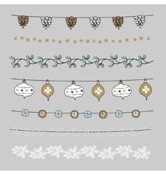 Set of Christmas borders strings garlands vector image