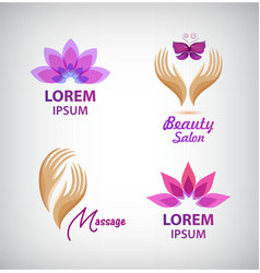 set of spa logos Lotus massage hands vector image
