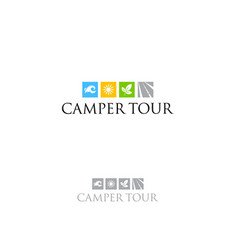 tourism camper travel logo water road forest sun vector image