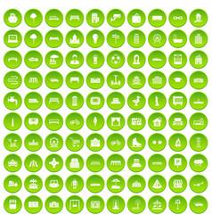 100 urban icons set green vector