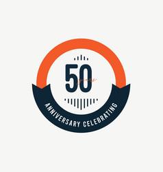 50 th anniversary celebrations retro orange vector