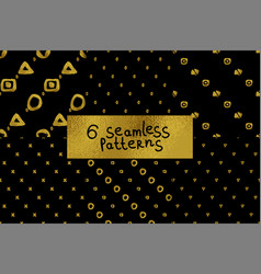Abstract seamless pattern set six black and gold vector
