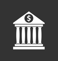bank building icon with dollar sign in flat style vector image