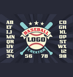 baseball logo creator with stars crossed bats vector image