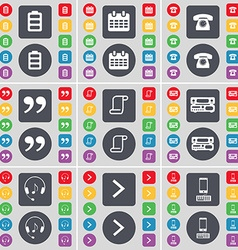 Battery Calendar Retro phone Quotation mark Scroll vector