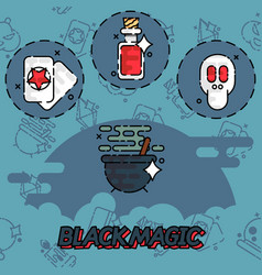 Black magic flat concept icons vector