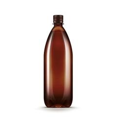 Blank Brown Plastic Water Beer Kvass Bottle vector