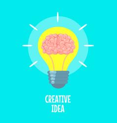 brain in light bulb creative idea metaphor vector image