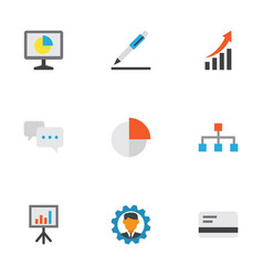 business icons flat style set with contract vector image