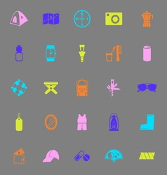 Camping necessary color icons on gray background vector