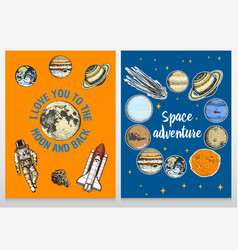 card planets in solar system and astronaut vector image