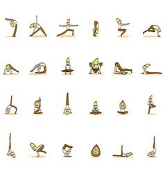 Cartoon character man practicing yoga for design vector