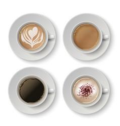 coffee cups realistic espresso latte or vector image