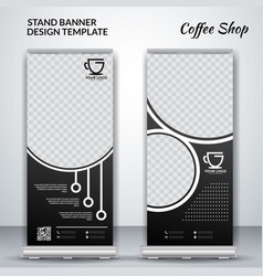 Coffee shop roll up banner design vector