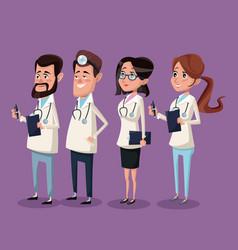 color background hospital medical staff team vector image