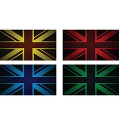 Colourful uk flags vector