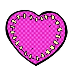 Comic cartoon stitched heart vector