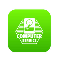 computer service icon green vector image