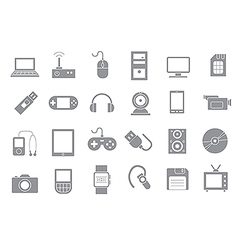 Computer technologies gray icons set vector