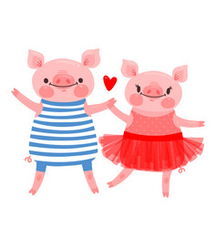 couple sweet piglets character design pig vector image