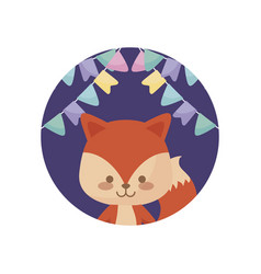 cute fox animal with garlands hanging vector image