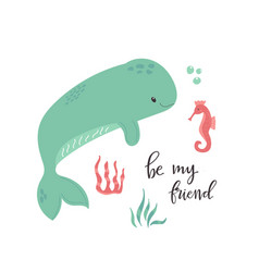 cute whale and seahorse poster nursery art print vector image