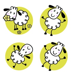 doodle sheep set vector image