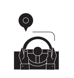 drive route black concept icon drive route vector image