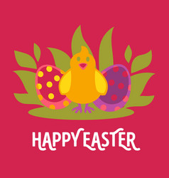 easter cartoon greeting card with chicken vector image