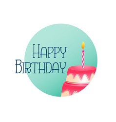 elegant happy birthday card with cake and candle vector image