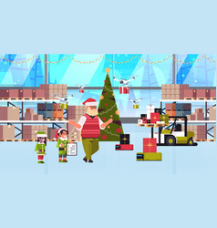 elves couple helpers santa claus working vector image