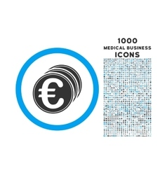 Euro Coins Rounded Icon with 1000 Bonus Icons vector image