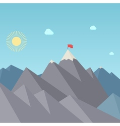 Flag On The Mountain Peak Goal Achievement vector image