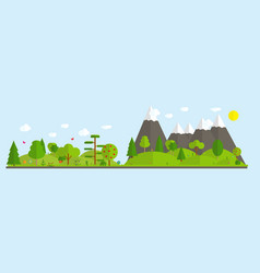 flat cartoon style nature landscape vector image