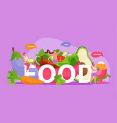Food flat text composition vector
