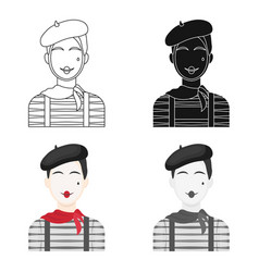 french mime icon in cartoon style isolated on vector image