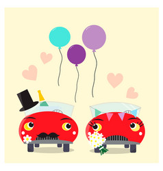 Funny cars - bride and groom wedding couple vector