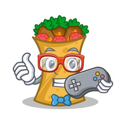 Gamer kebab wrap character cartoon vector