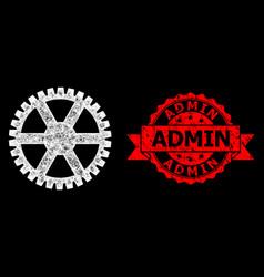 Grunge admin stamp and bright web mesh clock vector