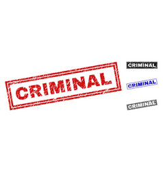 Grunge criminal textured rectangle stamp seals vector