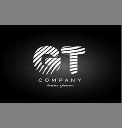 Gt g t letter alphabet logo black white icon vector