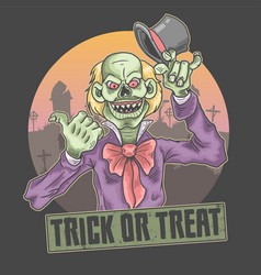 Halloween clown trick or treat vector