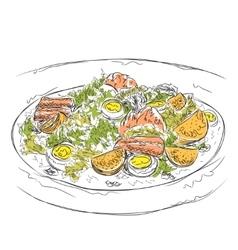 Hand drawn salad sketch Food vector image