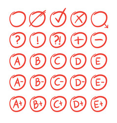 Hand written sketches of red grade notes vector