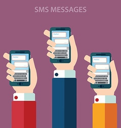 Hands holding smartphone with sms call and send vector image